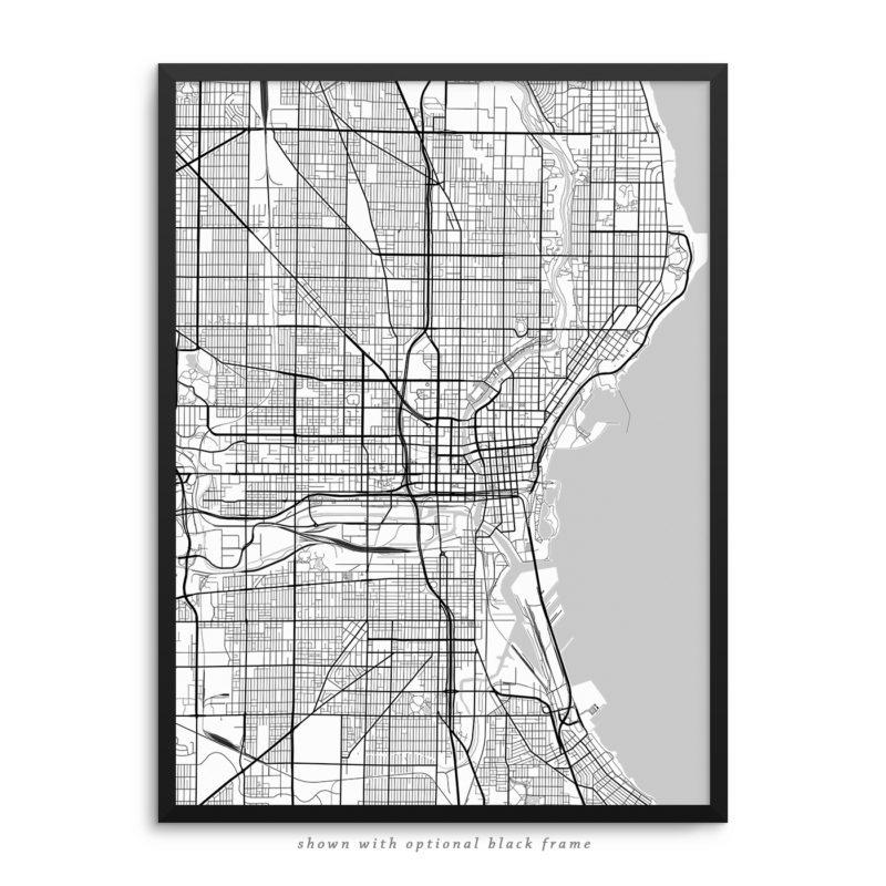 Milwaukee WI City Street Map White Poster
