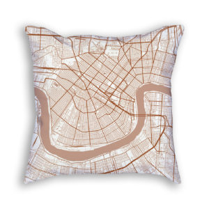 New Orleans Louisiana City Map Art Decorative Throw Pillow