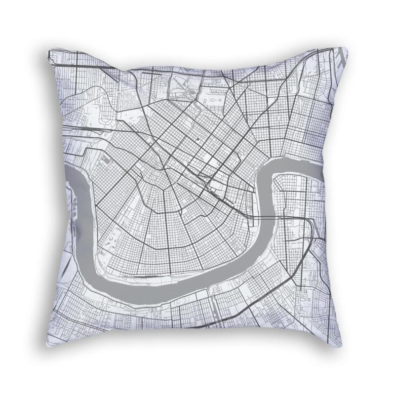 New Orleans Louisiana City Map Art Decorative Throw Pillow
