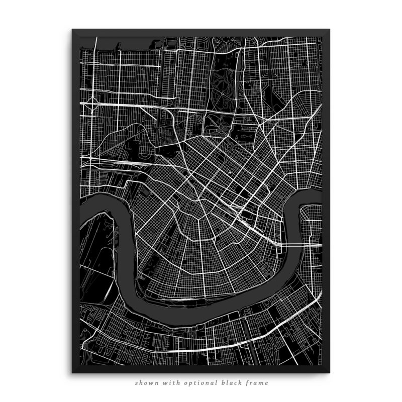 New Orleans LA City Street Map Black Poster