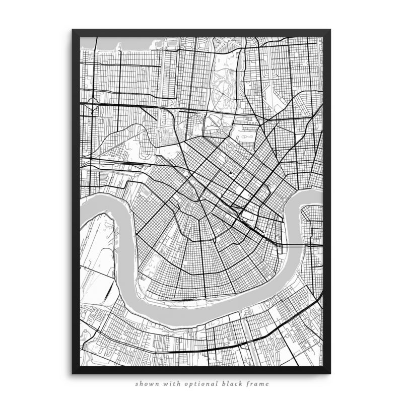 New Orleans LA City Street Map White Poster