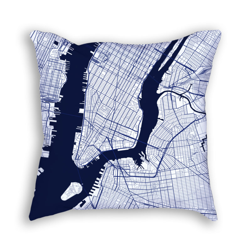 New York City New York City Map Art Decorative Throw Pillow