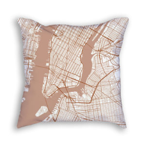 New York City New York City Map Art Decorative Throw Pillow
