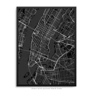 New York City NY City Street Map Black Poster