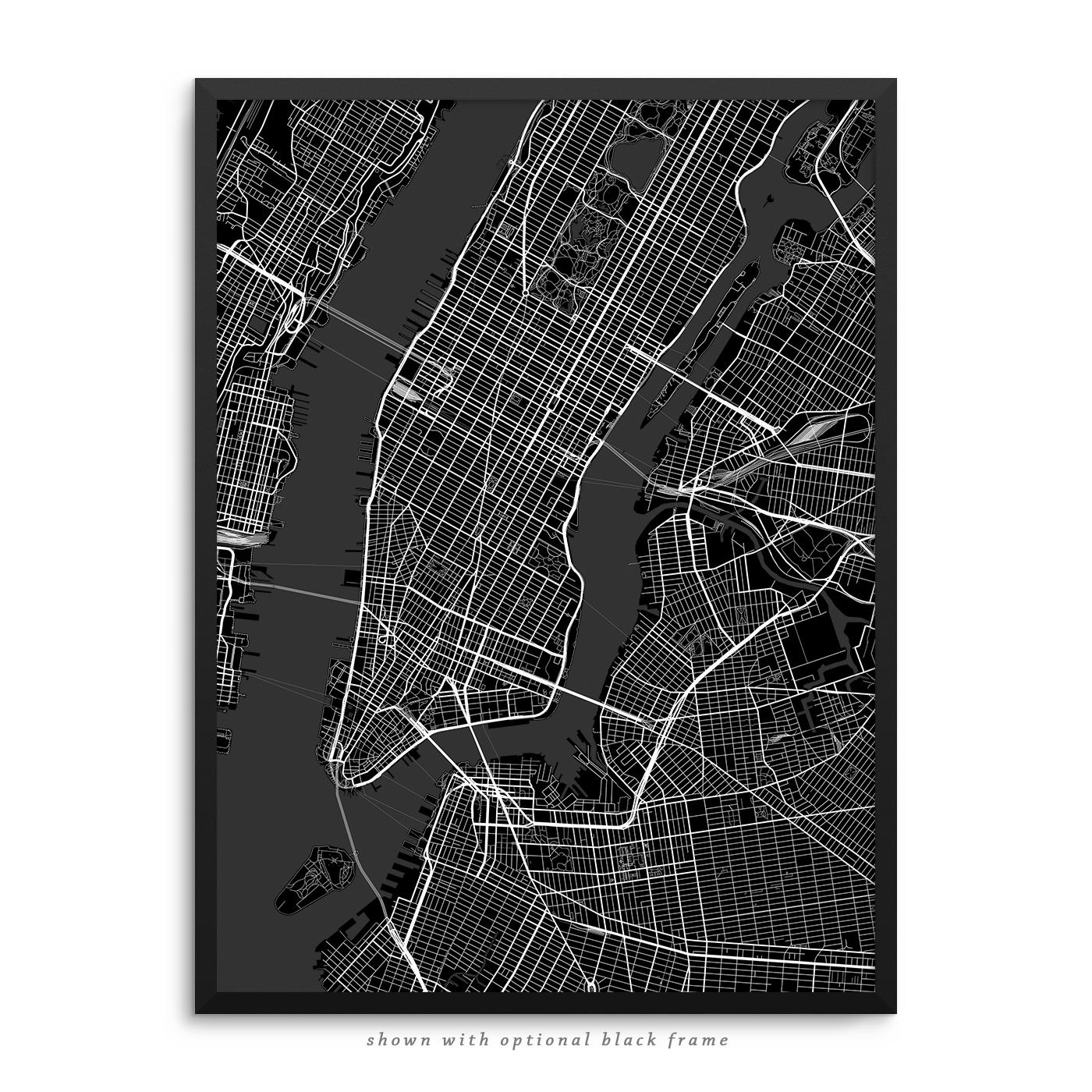 new york city ny city street map black poster