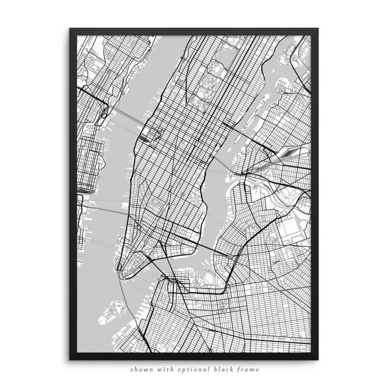 New York City NY City Street Map White Poster