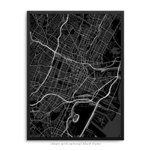 Newark NJ City Street Map Black Poster