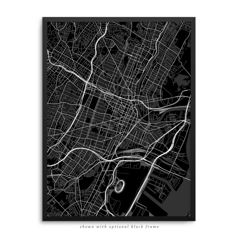 Newark NJ City Street Map Black Poster