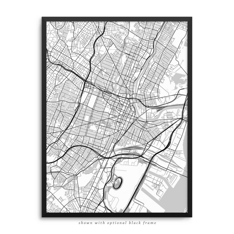 Newark NJ City Street Map White Poster