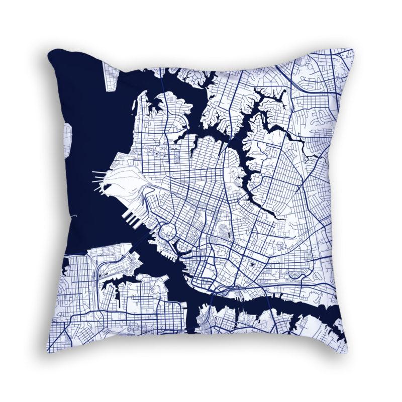 Norfolk Virginia City Map Art Decorative Throw Pillow