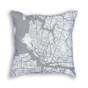 Norfolk Virginia City Map Art Decorative Throw Pillow