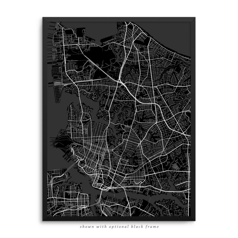 Norfolk VA City Street Map Black Poster