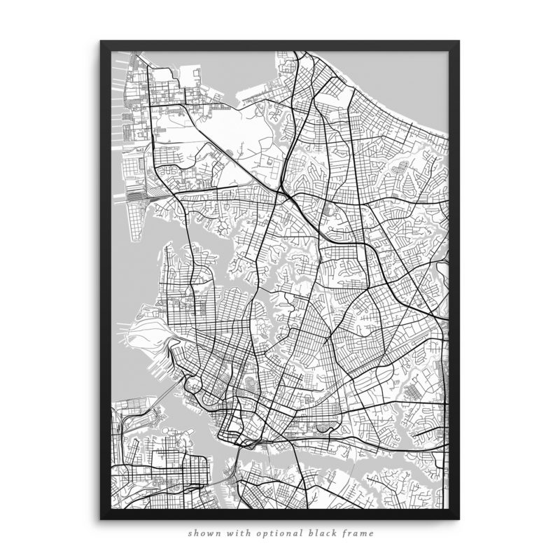 Norfolk VA City Street Map White Poster