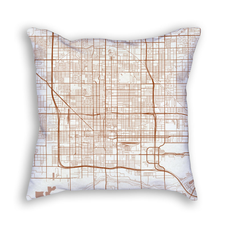 Phoenix Arizona City Map Art Decorative Throw Pillow