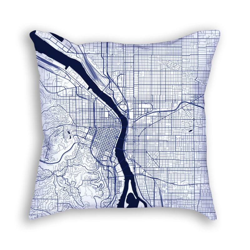 Portland Oregon City Map Art Decorative Throw Pillow