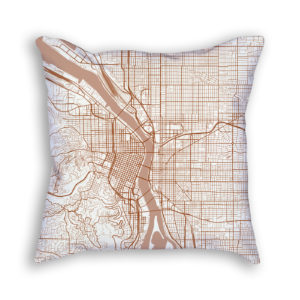 Portland Oregon City Map Art Decorative Throw Pillow