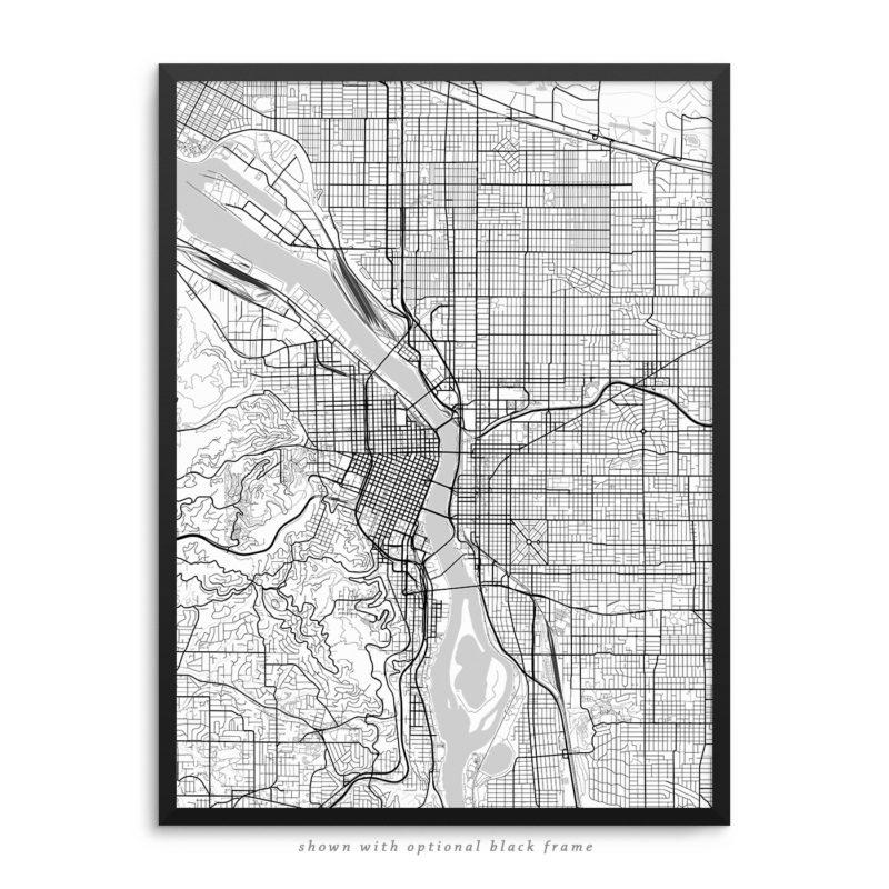 Portland Oregon City Street Map White Poster