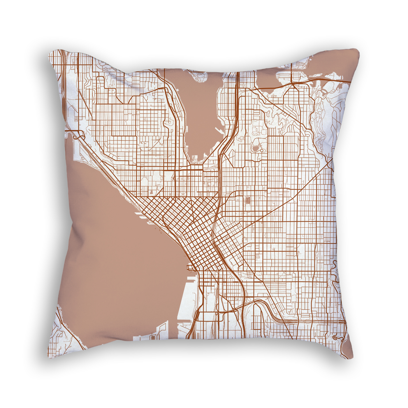 Seattle Washington City Map Art Decorative Throw Pillow