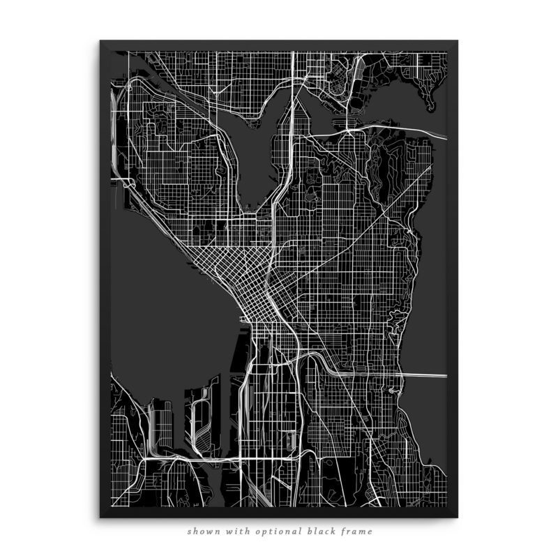 Seattle WA City Street Map Black Poster