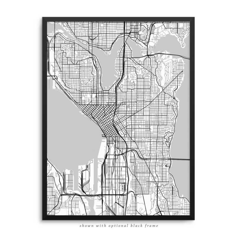 Seattle WA City Street Map White Poster