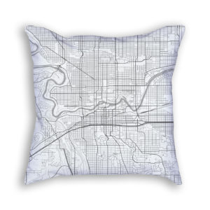 Spokane Washington City Map Art Decorative Throw Pillow