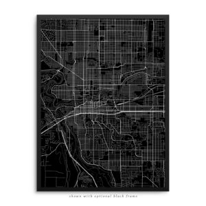 Spokane WA City Street Map Black Poster
