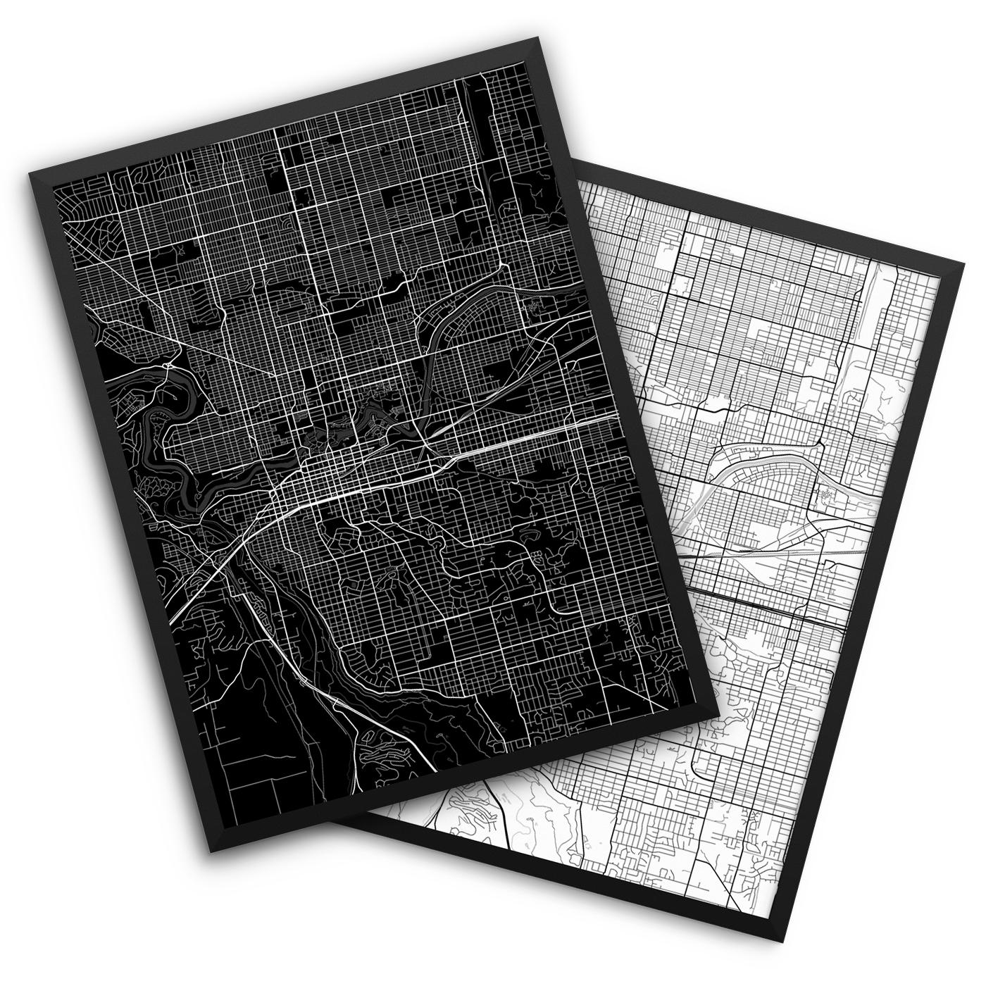 Spokane WA City Map Decor