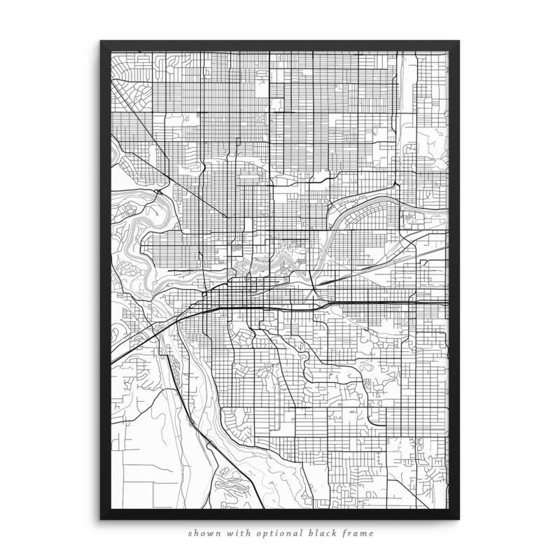 Spokane WA City Street Map White Poster