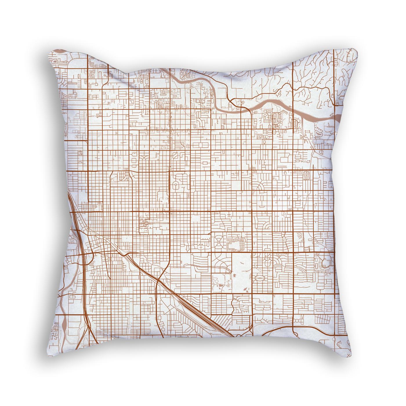 Tucson Arizona City Map Art Decorative Throw Pillow
