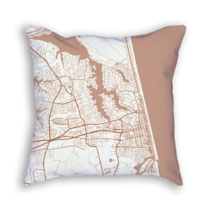 Virginia Beach Virginia City Map Art Decorative Throw Pillow