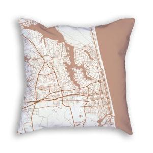 Virginia Beach Virginia City Map Art Decorative Throw Pillow