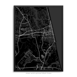 Virginia Beach VA City Street Map Black Poster