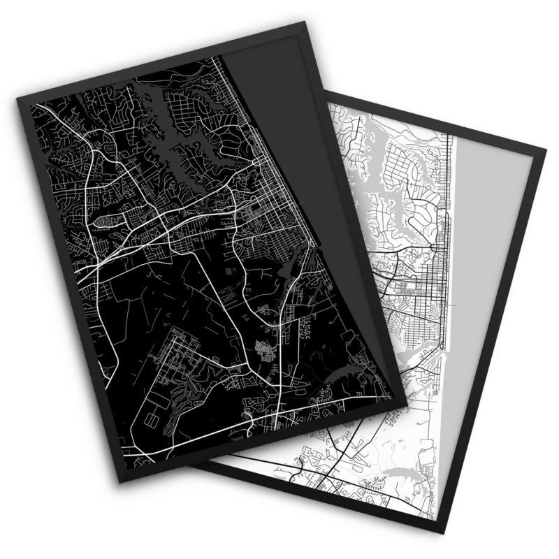 Virginia Beach VA City Map Decor