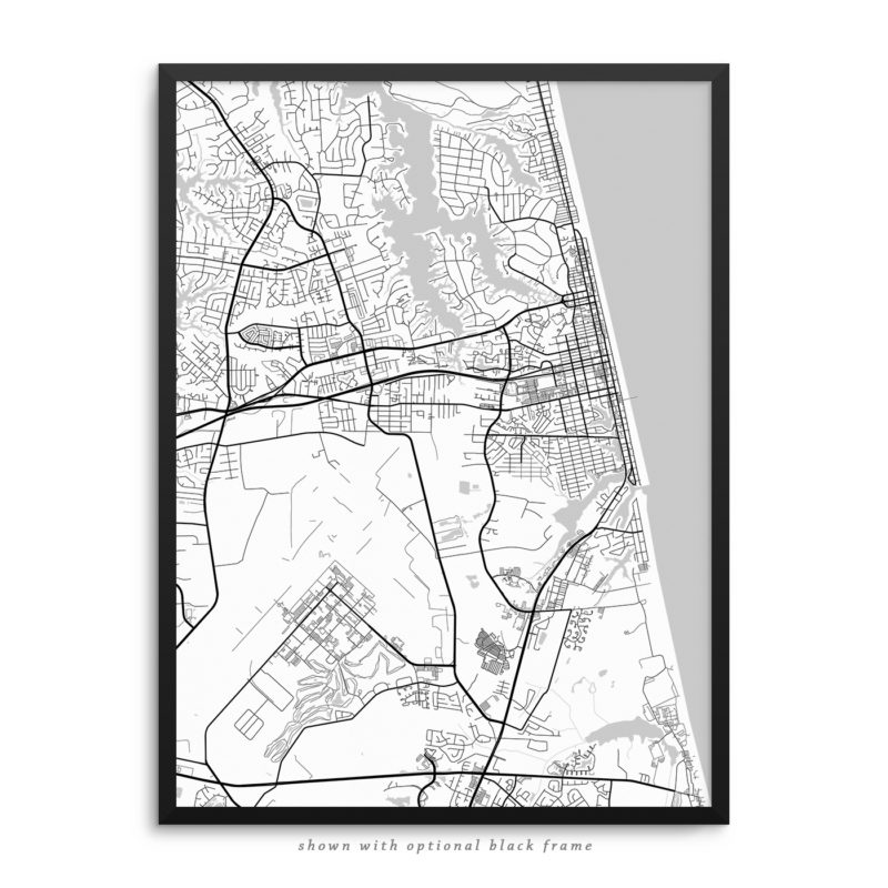 Virginia Beach VA City Street Map White Poster