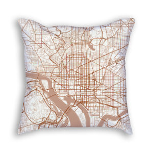 Washington DC City Map Art Decorative Throw Pillow
