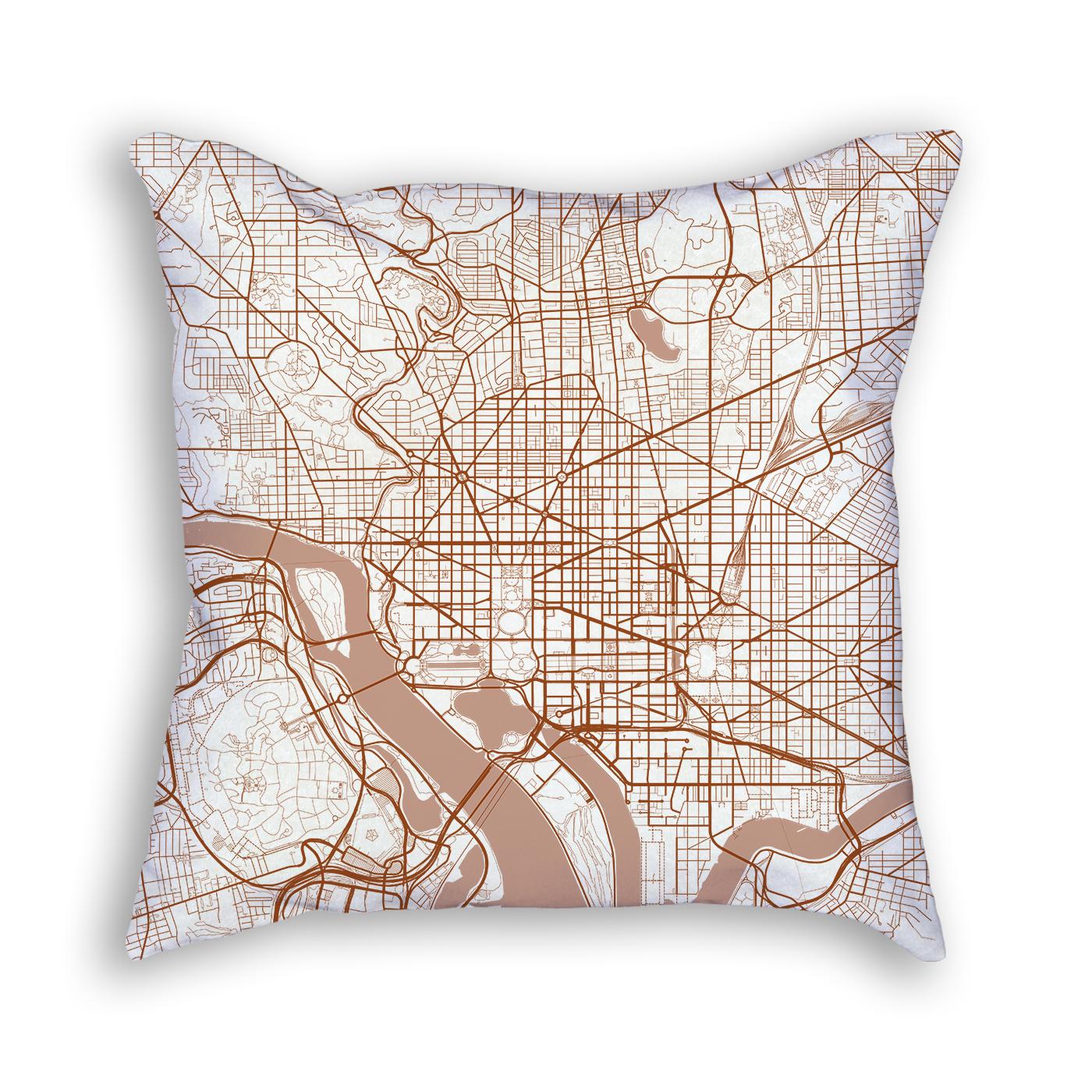 Washington DC City Map Art Decorative Throw Pillow