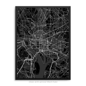 Washington DC City Street Map Black Poster