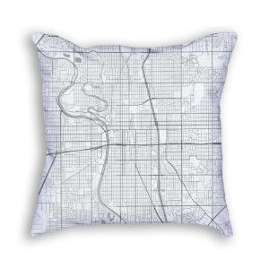 Wichita Kansas City Map Art Decorative Throw Pillow