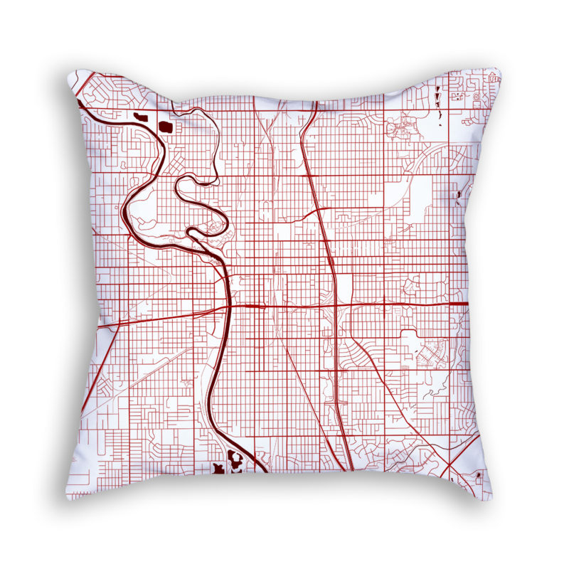 Wichita Kansas City Map Art Decorative Throw Pillow