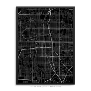 Wichita KS City Street Map Black Poster