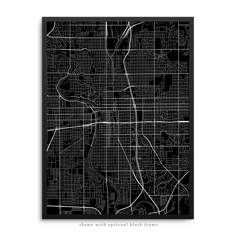 Wichita KS City Street Map Black Poster