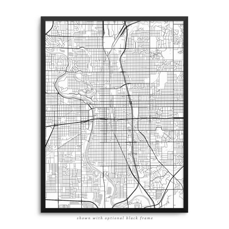 Wichita KS City Street Map White Poster