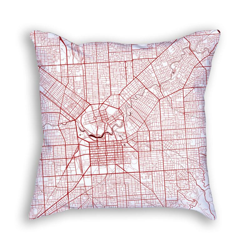 Adelaide Australia City Map Art Decorative Throw Pillow