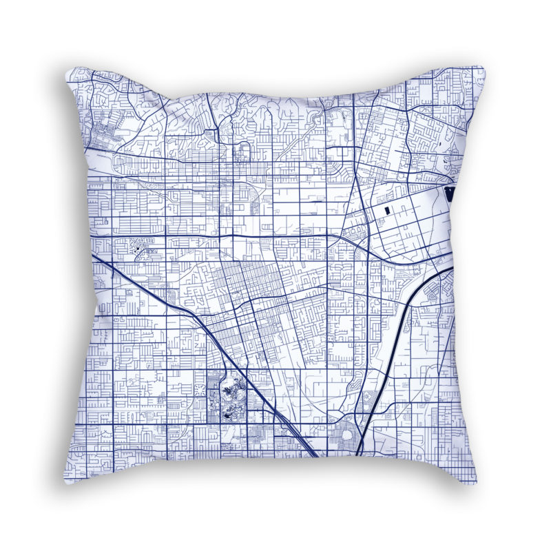 Anaheim California City Map Art Decorative Throw Pillow