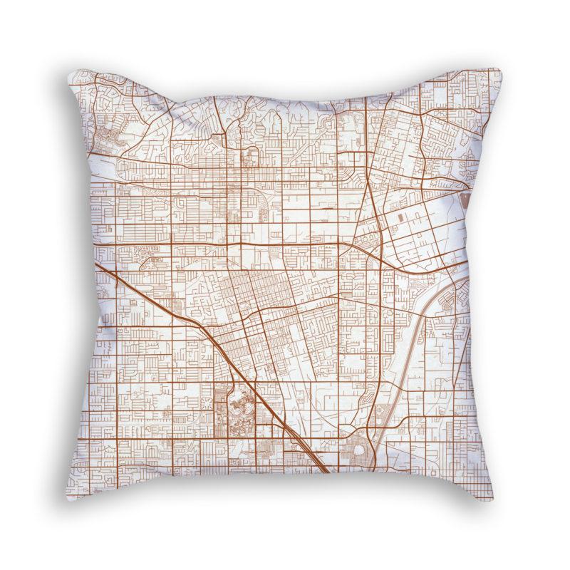 Anaheim CA City Map Art Decorative Throw Pillow