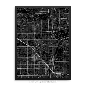 Anaheim CA City Street Map Black Poster