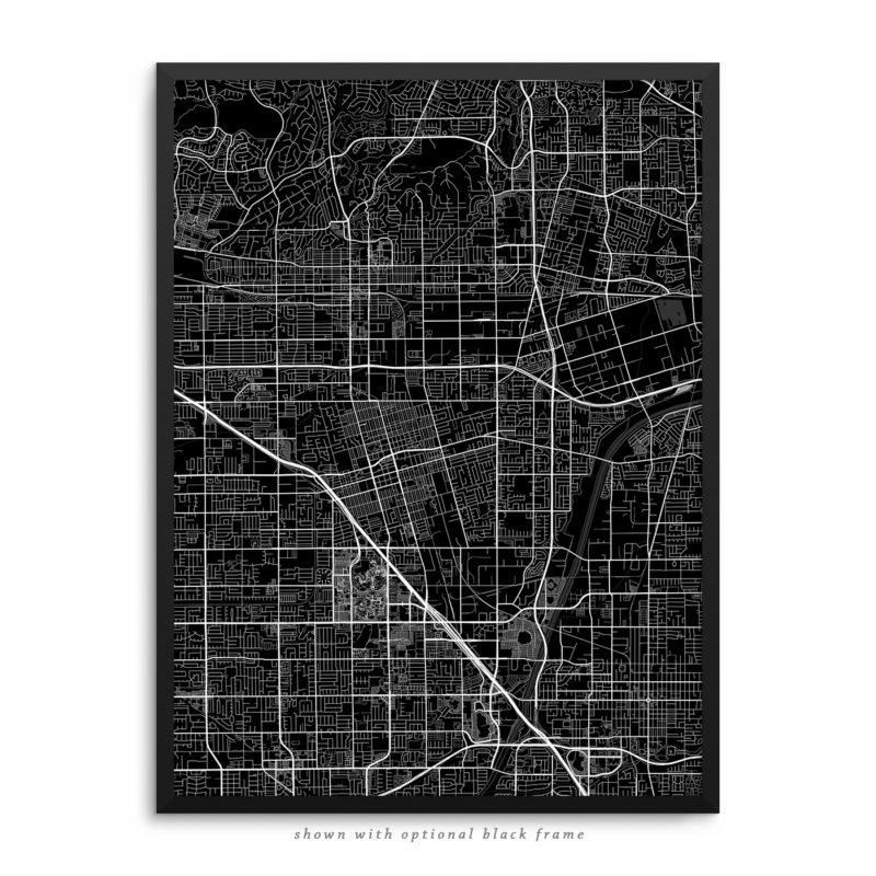 Anaheim CA City Street Map Black Poster