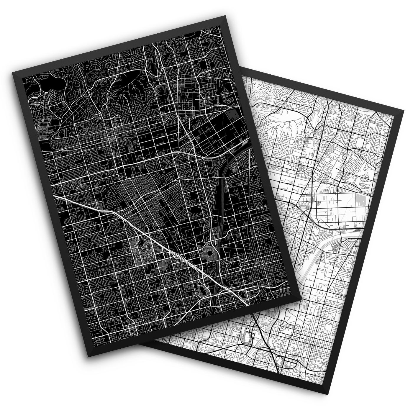 Anaheim CA City Map Decor