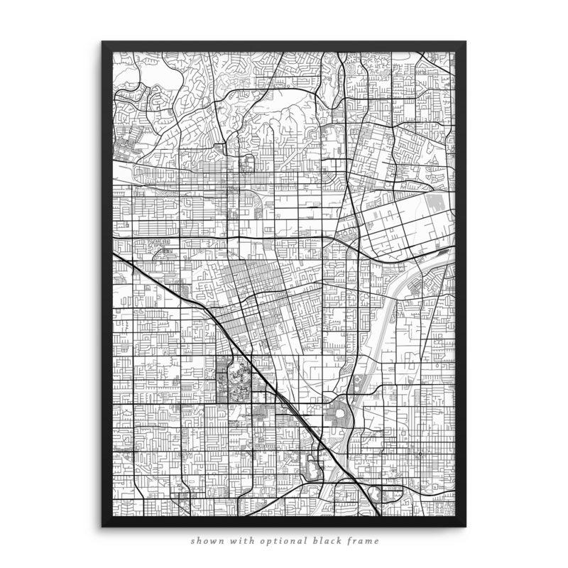 Anaheim CA City Street Map White Poster