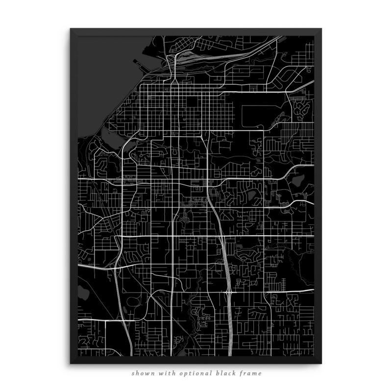 Anchorage AK City Street Map Black Poster